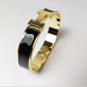 Black Enamel H Bangle Bracelet